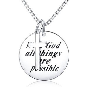 "Jewelry - Sterling Silver Engraved""With God All Things Are P"